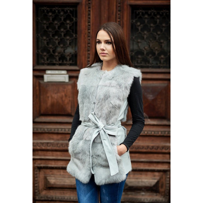 Grey rabbit fur vest