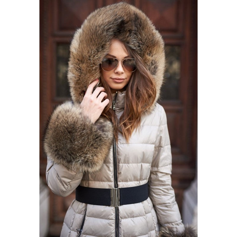 Feather coat decorated with...
