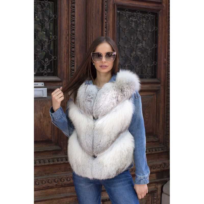 Fawn light fox fur vest